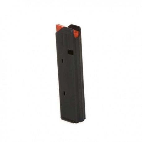 9mm 20 Round SS Magazine Black Finish Orange Follower