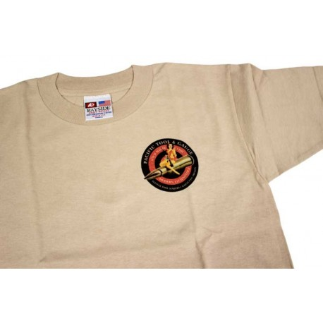 PTG Bomber Girl T-Shirt - Sand w/ Red&Black Logo (No Pocket)