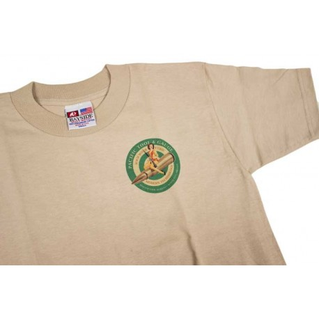 PTG Bomber Girl T-Shirt - Sand w/ Green Logo (No Pocket)