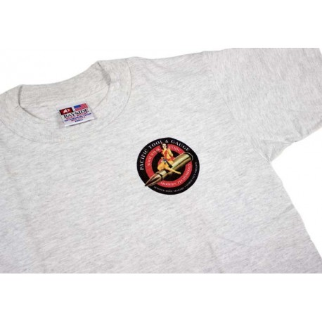 PTG Bomber Girl T-Shirt - Grey w/ Blk&Red Logo (No Pocket)